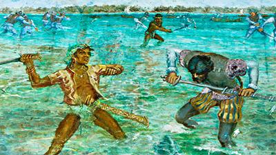 フィリピン セブ戦闘の様子を描いた壁画