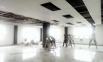 セブITアウトソーシングセンター内装工事中の様子